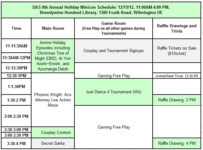 Holiday Minicon 2012 Schedule